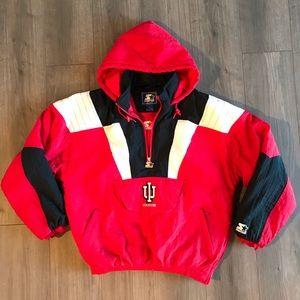 VTG Indiana IU Starter Pull Over Jacket Red White